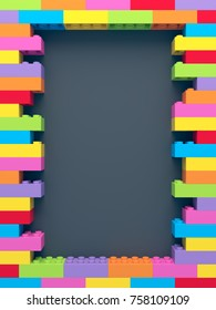 Frame of stacked colorful toy bricks on dark background. 3D Rendering.