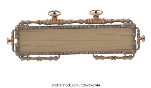 frame in steampunk style on an isolated white background. 3d illustration