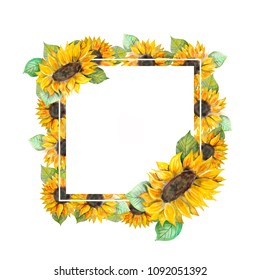 Frame with sunflowers. Watercolor pattern for your design.