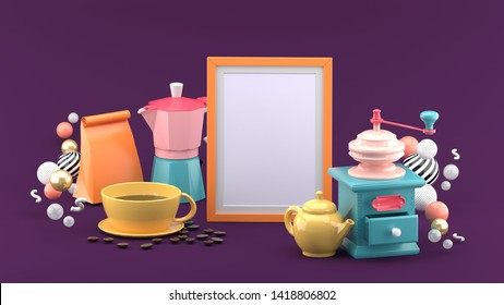 The frame is surrounded by a cup of coffee, a coffee bag, a coffee maker and a kettle on a purple background.-3d rendering.