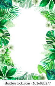 frame of tropical green watercolor leaves