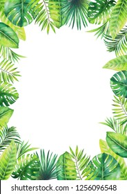 Frame of tropical leaves. Watercolor painting isolated on white background.