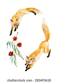Frame from two foxes. Decoration with wildlife scene. Place for your text. Watercolor hand drawn illustration