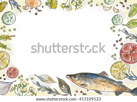 Frame Vegetables Fish Frame Grass Herbs Stock Illustration 413109523 ...