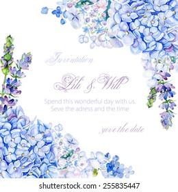 Frame of watercolor blue hydrangea, lavender. Vintage floral greeting card.