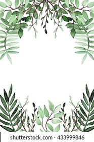 Frame With Watercolor Deep Green Foliage