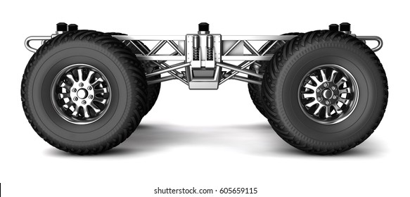 Frame Wheels Monster Truck 3 D Image Stock Illustration 605659121 ...