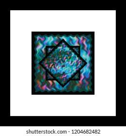 framed blue star on fiber carpet
