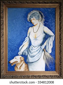 Framed painting of high class woman with greyhound windhound dog