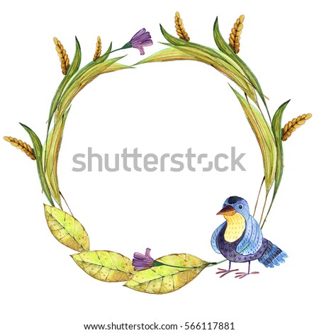 Frames Card Birds Leaves Grass Watercolor Stock Illustration ...