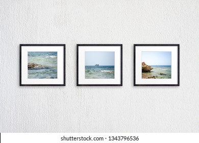 Frames collage with ocean view pictures, three black wooden realistic frameworks on white plastered wall, 3D illustration