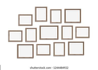 Frames collage, thirteen blank wooden framework mockup, gallery style. 3D illustration