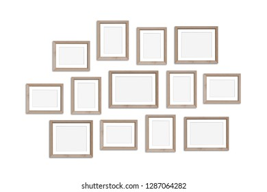 Frames collage, thirteen wooden frameworks isolated on white background, gallery style mock up. 3D illustration