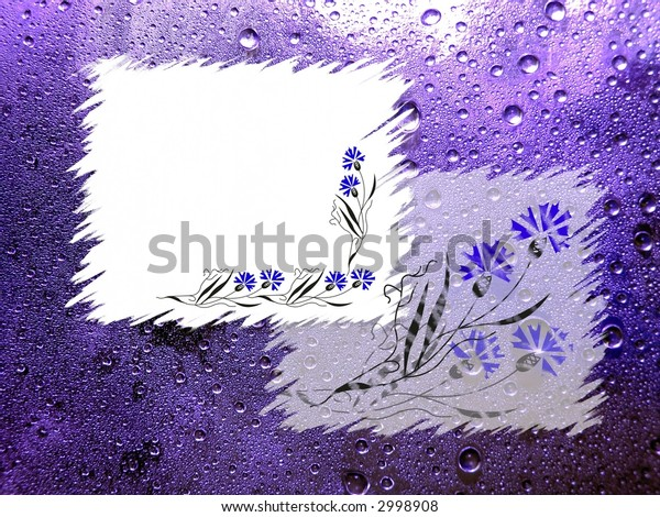 frames on violet background with water drops and flowers