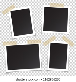 Frames of photo with shadow pin on sticky tape. Realistic empty square black and white photo snapshot isolated on transparent background frame of picture for your design