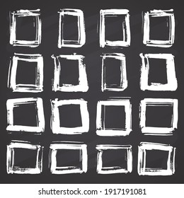 Frames and text boxes, grunge textured hand drawn elements set, illustration on chalkboard background.