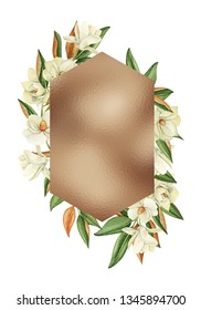 Frames with watercolor flowers, magnolia white