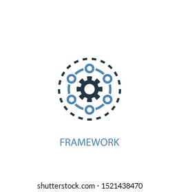 Framework concept 2 colored icon. Simple blue element illustration. Framework concept symbol design. Can be used for web and mobile UI/UX