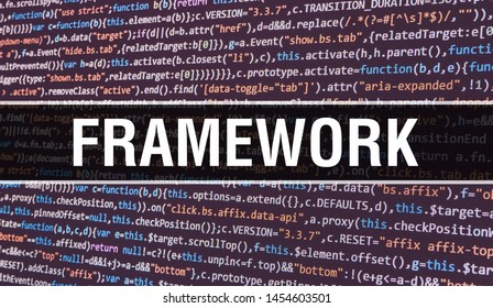 FRAMEWORK concept with Random Parts of Program Code. FRAMEWORK with Programming code abstract technology background of software developer and Computer script. FRAMEWORK Background concept