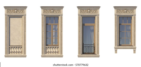 Framing of windows in classic style on the stone with French balcony. 3d rendering.