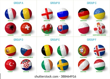 France 2016 groups. Soccer balls with country flags on them isolated on white background and much more.