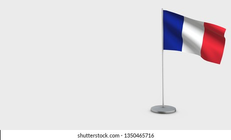 France 3D Flag isolated on white background. Waving in wind on steel flagpole.