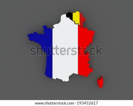 France Belgium Map 3 D Stock Illustration Royalty Free Stock