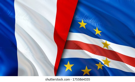 France and Cape Verde flags. 3D Waving flag design. France Cape Verde flag, picture, wallpaper. France vs Cape Verde image,3D rendering. France Cape Verde relations alliance and Trade,travel,tourism
