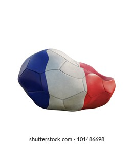 france deflated soccer ball isolated on white
