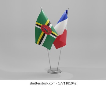 France - Dominica Cooperation Flags, White Background - 3D Render