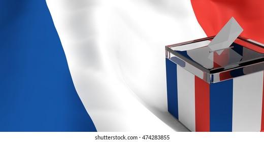 France Elections. Ballot box on France flag background. 3d illustration