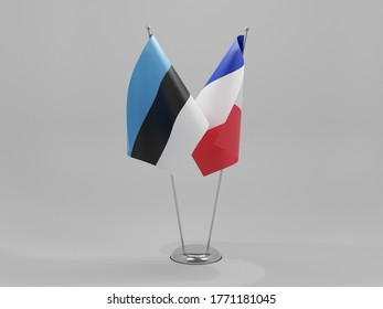 France - Estonia Cooperation Flags, White Background - 3D Render