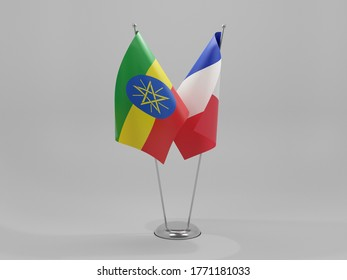 France - Ethiopia Cooperation Flags, White Background - 3D Render