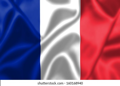 France flag blowing in the wind. Background texture.
