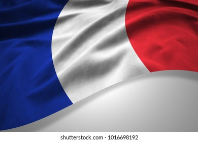 France flag of silk with copyspace for your text or images and white background -3D illustration