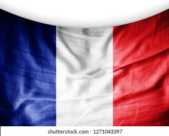 France flag of silk and white background-3D illutration