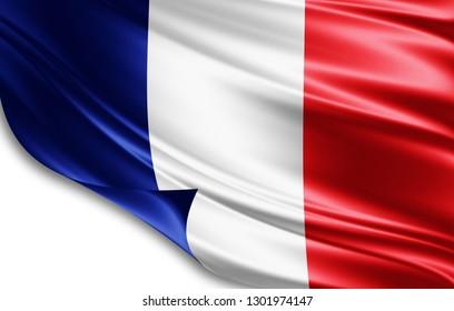 France flag of silk-3D illustration