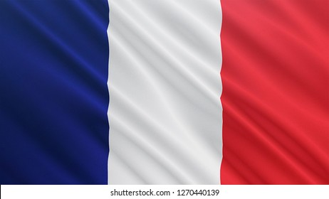 France flag is waving 3D illustration. Symbol of European, French national on fabric cloth 3D rendering in full perspective.