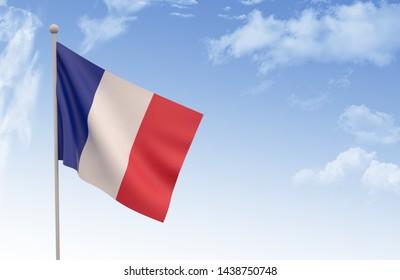 France Flag Waving with blue sky, 3D illustration, France day concept 3d render,