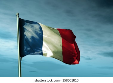France flag waving in the evening