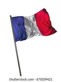 France Flag Waving Isolated on White Background Portrait 3D Rendering