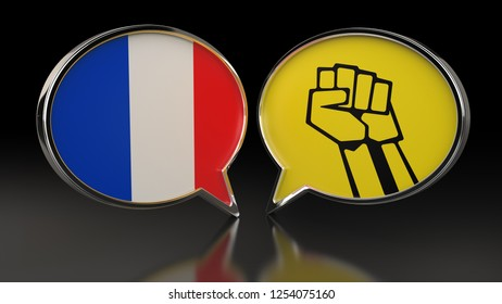 France Flag and Yellow Vests Protest with Speech Bubbles. 3D illustration