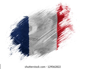 France. French flag  painted with brush on white background