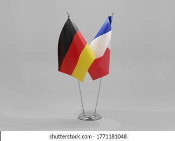 France - Germany Cooperation Flags, White Background - 3D Render