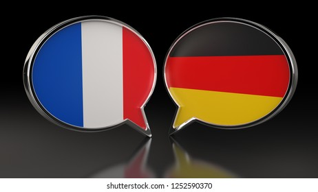 France and Germany flags with Speech Bubbles. 3D illustration