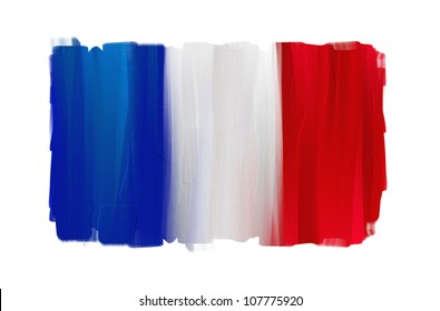 France hand painted national flag isolated on white