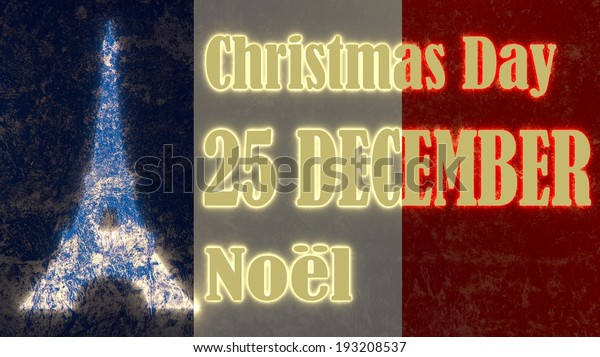 Christmas Day In France.France Holiday Christmas Day Text By Stock Illustration