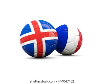 France and Iceland soccer balls isolated on white. 3D illustration