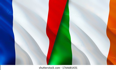 France and Ireland flags. 3D Waving flag design. France Ireland flag, picture, wallpaper. France vs Ireland image,3D rendering. France Ireland relations alliance and Trade,travel,tourism concept
