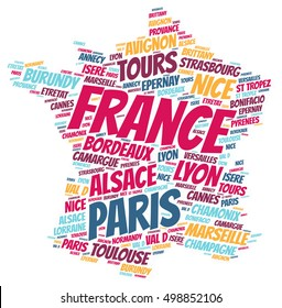 France map silhouette word cloud with most popular travel destinations